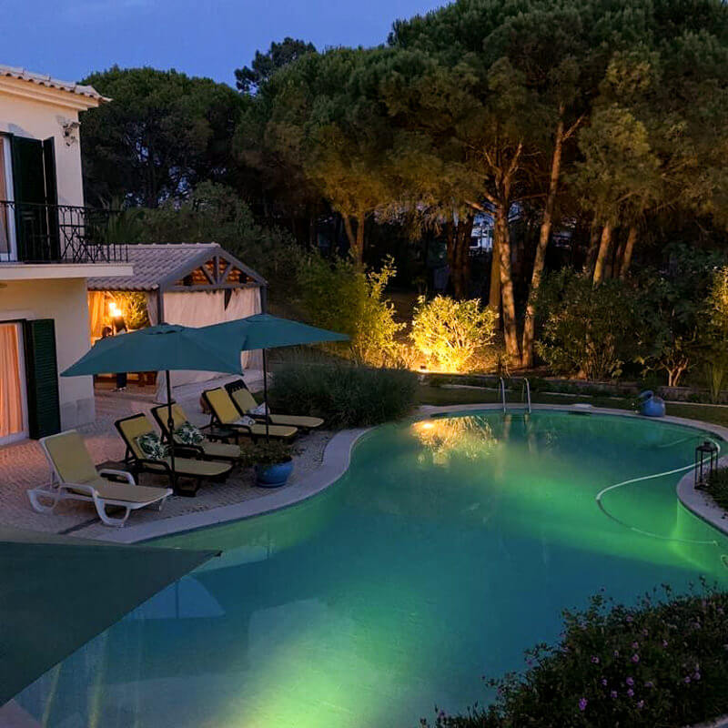 All rooms at Vila de Sol have a balcony overlooking the garden and pool