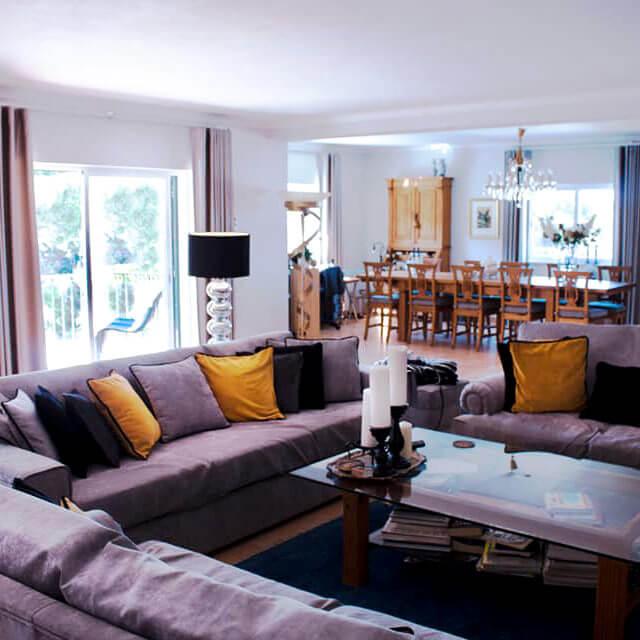 Vila de Sol's guest lounge has plenty of space for everyone to rest