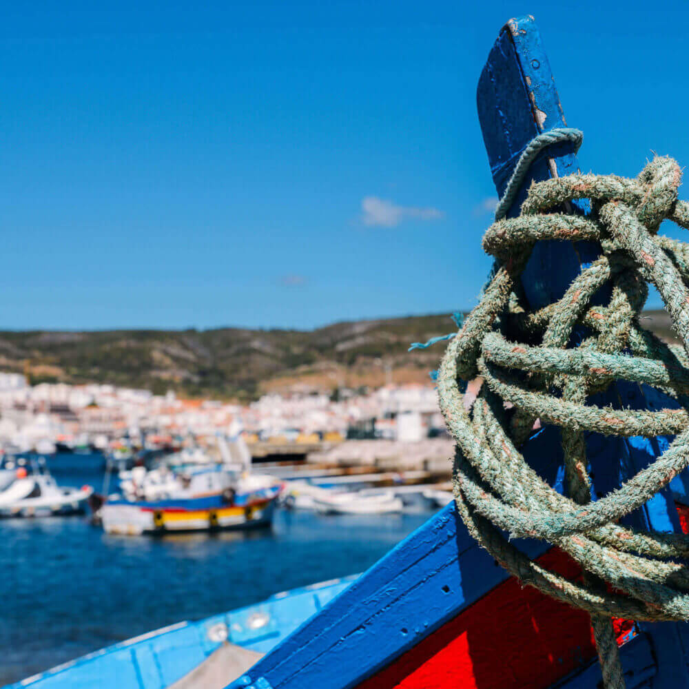 Traditional fishing boat in Sesimbra