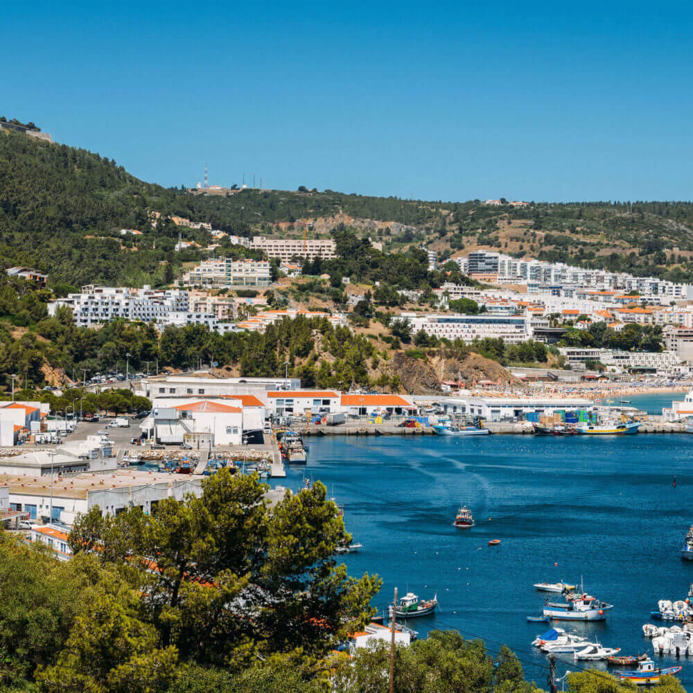View of Sesimbra from its fish auction and port