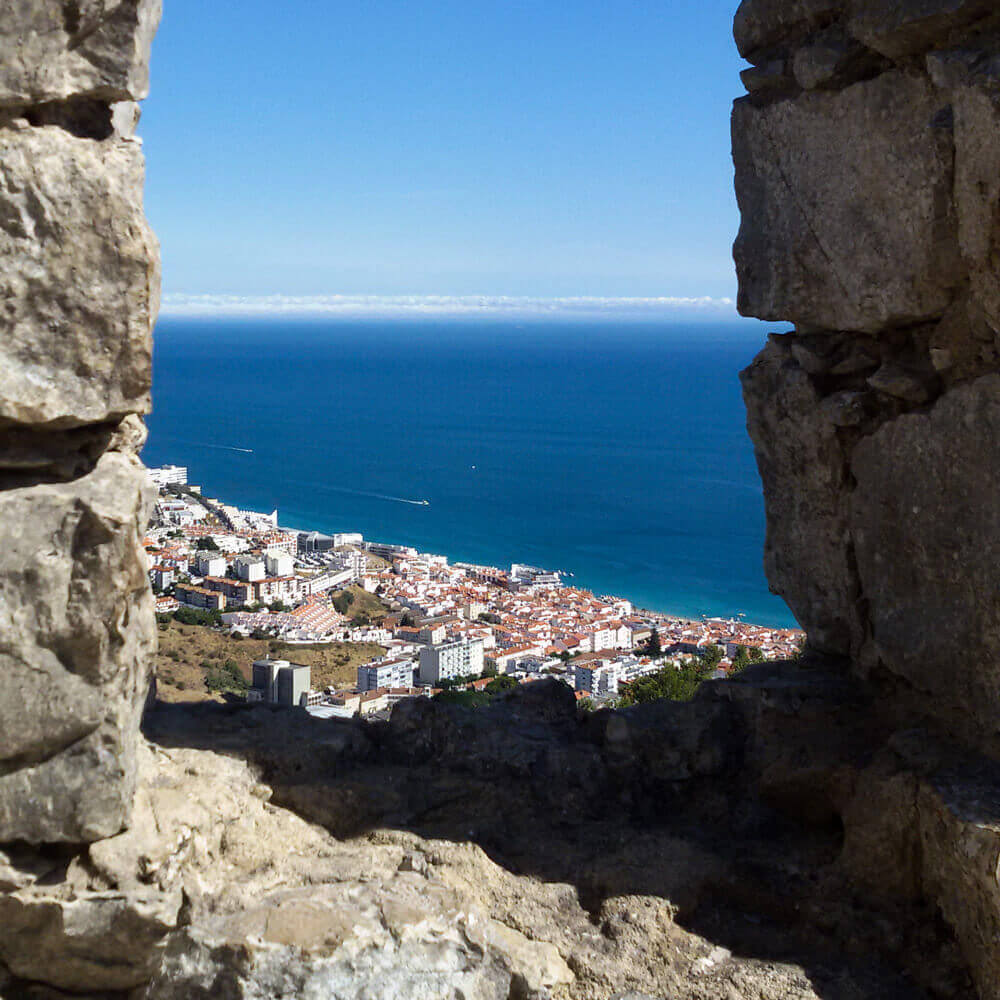 The bay of Sesimbra seen from the Castle: viewpoint over the sea