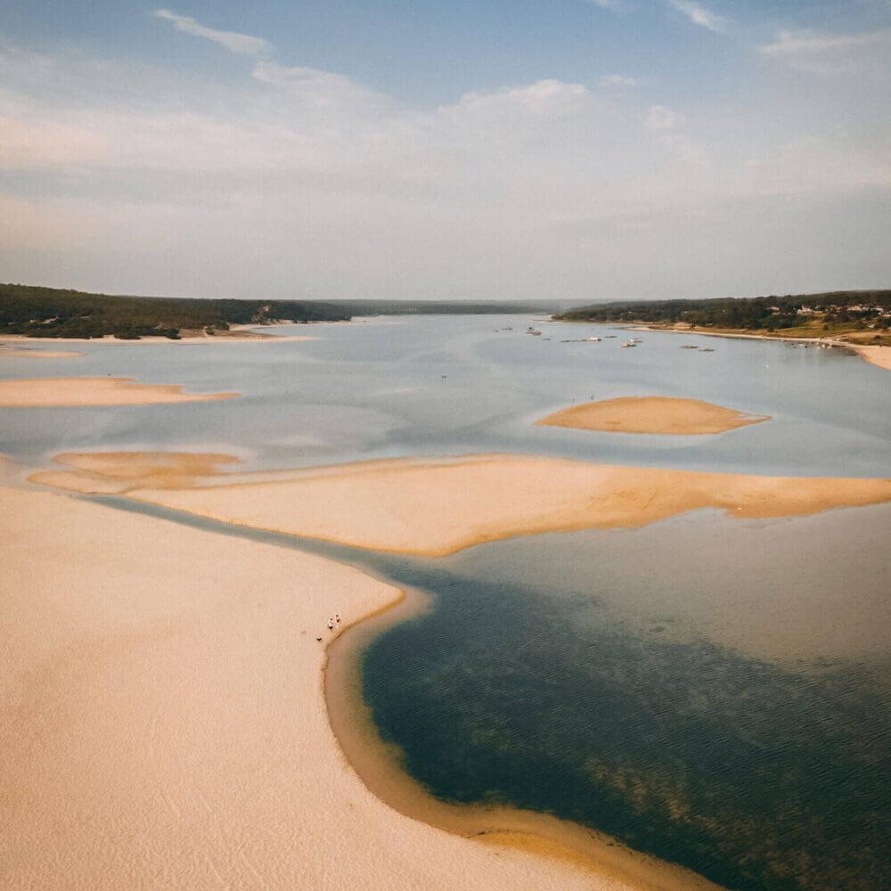 Aerial view of Lagoa de Albufeira em Sesimbra