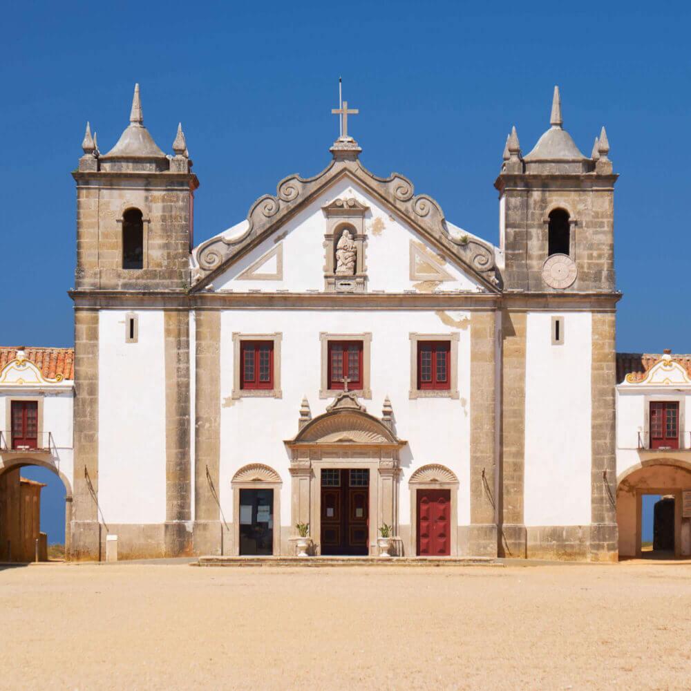 The 15th century Our Lady of the Cape Church near Cape Espichel, Portugal
